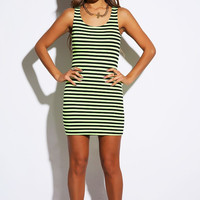 Yellow Striped Cut Out Dress