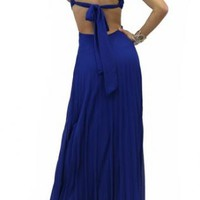Crisscross Bodice Pleated Skirt Party Dress in Blue (VD566b)
