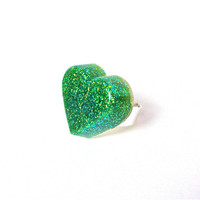 Sparkling lime green glitter heart ring - neon green fun girls heart ring - bright novelty glitter resin ring by Sparkle City Jewelry