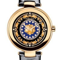 Versace 'Mystique Foulard' Diamond Index Leather Strap Watch, 38mm | Nordstrom