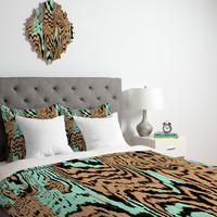Caleb Troy Aqua Chocolate Safari Duvet Cover