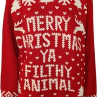 WearAll Women's Merry Christmas Ya Filthy Animal Knitted Sweater