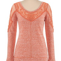 heathered embroidered shoulder pullover