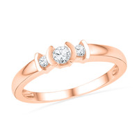 1/5 CT. T.W. Diamond Three Stone Promise Ring in 10K Rose Gold