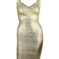 Gold Foil Bandage Dress
