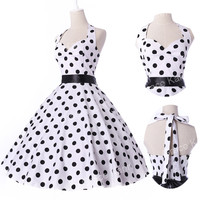 LADYS VINTAGE BRIDESMAID POLKA DOT 50s 60s ROCKABILLY SWING PROM EVENING DRESSES