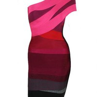 Ombré One Shoulder Bandage Dress