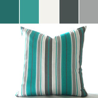 Teal/ Turquoise Pillow cover Multi color Striped - Outdoor pillow cover 18 inch