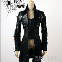 UNISEX gothic punk visual kei JApan man-made leather coat jacket blazer S-XL