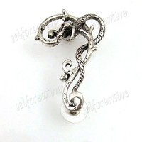 Snake Wrap Branch Cuff Earring Stud Left Ear 1PC Metal Retro Bronze/Silver Punk