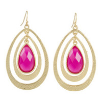 Fuchsia Hooped Drop Pendant Earrings