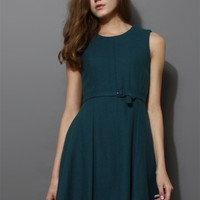 Belted Sleeveless Pleated Dress in Turqoise