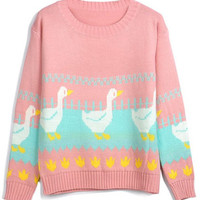 ROMWE | Duck Embroidered Pink Jumper, The Latest Street Fashion