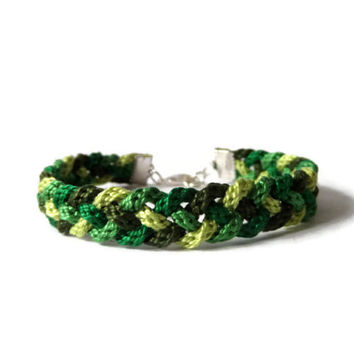 braided bracelet Kumihimo rope bracelet unisex adult jewelry green friendship bracelet, 19 - 20,5 cm (7,5 - 8,1 inches)