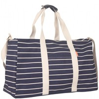 Flight 001 – Where Travel Begins. Striped Duffle Blue