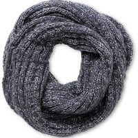 D&Y Dark Grey Leaf Stitch Infinity Scarf
