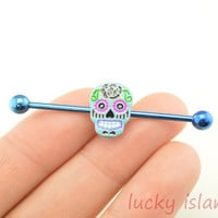 Industrial barbell,skull ear piercing,skull industrial barbell,friendship ear piercing,earring,bestfriend gift