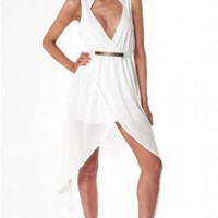 White Plunge Hi-Low Maxi Dress with Cinched Waist Detail