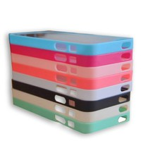 Wholesale 8pcs/lot 8 Colors Soft Trim High Clear Back Hard Cover Bumper Case Skin for Iphone 5 5g