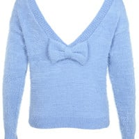 Bow V-Back Fluffy Jumper
