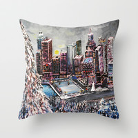 Christmas Lights the City Throw Pillow by Rokin Art by RokinRonda