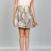 Cream Bodice & Floral Jacquard Skirt Dress