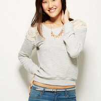 Crochet Shoulder Inset Sweatshirt