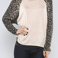 Leopard Sleeves Top, Oatmeal