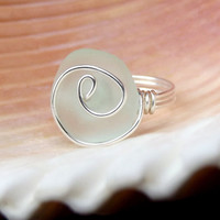 Aqua Sea Glass Ring: Fine Silver Swirl Spiral Wire Wrapped Light Seafoam Mint Green Beach Jewelry, Size 6