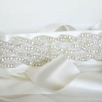 Crystal Rhinestone Beaded Wedding Bridal Sash Belt - Off White Satin Ribbon