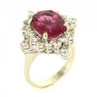 Vintage 14K White Gold Diamond Pink Fuschia Tourmaline Cocktail Ring - Size 4.75