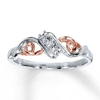 Diamond Ring 10K Rose Gold Sterling Silver