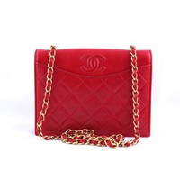 Vintage Chanel Red Quilted Lambskin Timeless Classic Flap Bag