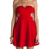 Sweetheart Cut Out Skater Dress - Red