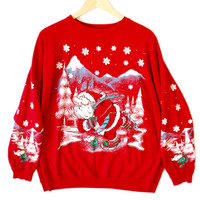 Vintage 80s Skating Santa Tacky Ugly Christmas Sweatshirt