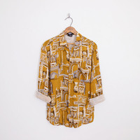 greek architecture print shirt, statue novelty shirt, novelty print shirt, mustard yellow shirt, oversize shirt, 80s shirt, 90s shirt s m l