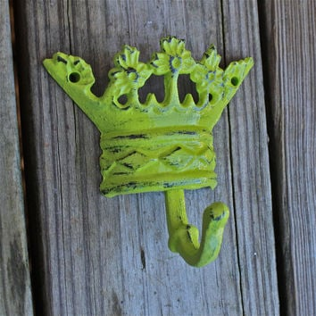 Princess Crown Wall Hook /Lime Green /Cast Iron Wall Hook /Distressed /Jewelry Accessory /Girls Room Decor /Princess Decor