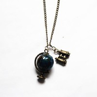 Bronze Globe Necklace, Stylish Telescope Pendant Necklace