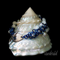 Ladder Byzantine with Glass Teardrop Beads Chainmail Bracelet, One of a Kind Blue and Silver Chainmaille Bracelet