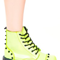 Neon Green Spike 7 Eye Boot