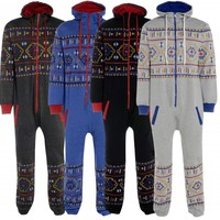 **New Unisex MENS/WOMENS Hooded Zip Onesuit TRIBAL Printed One Piece Jumpsuit**