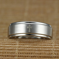 Exquisite Cross Cobalt Chrome Promise Ring