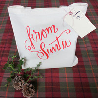 Christmas Gift Bag 'From Santa' Secret Santa Gift Tote Bag