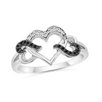 1/10 CT. T.W. Black and White Diamond Triple Heart Ring in Sterling Silver