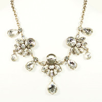 CRYSTAL FLORAL DROPLET NECKLACE