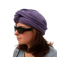 Purple Turban and Infinity Scarf - All in One - Multi Purpose Headband - Plum - Available in Many Colors