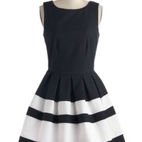 Closet Nautical Mid-length Sleeveless Fit & Flare A Dreamboat Come True Dress in Nautical