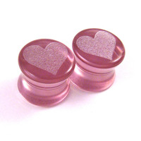"Heart Purple Glass Plugs - 2g (6mm) 0g (8mm) 00g (9mm) (10mm) 7/16"" (11mm) 1/2"" (13mm) 9/16"" (14mm) 5/8"" (16mm) Transparent Gauges"