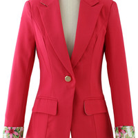 Hot Pink Contrast Cuff One Button Blazer
