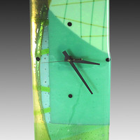 Aquagreens Clock by Nina Cambron: Art Glass Clock | Artful Home